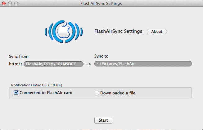 FlashAir Sync Settings