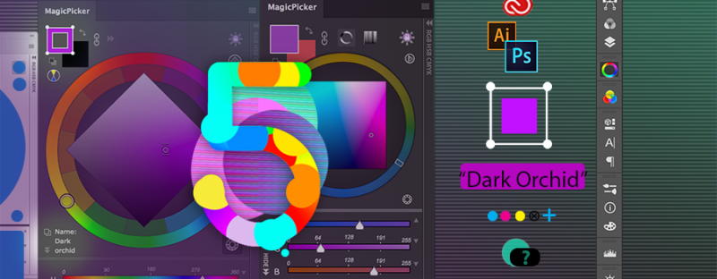 MagicPicker 5.0 displays color name on the wheel, colorizes vector shapes