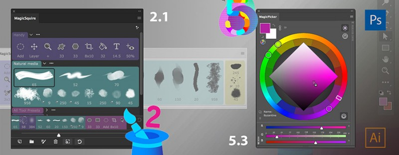 MagicPicker color wheel 5.3, MagicSquire brush organizer 2.1