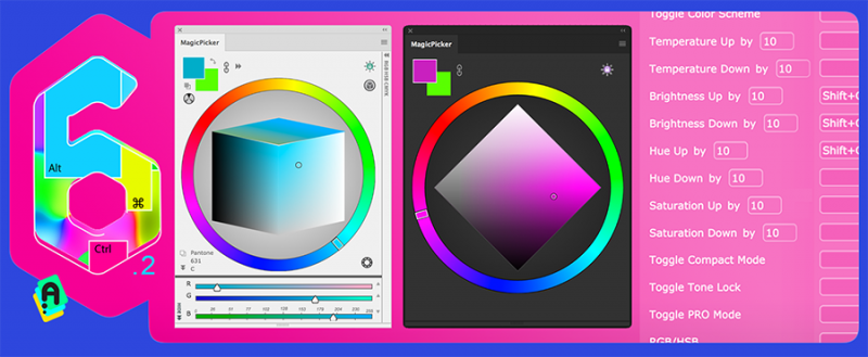 MagicPicker 6.2: color wheel modes and keyboard shortcuts